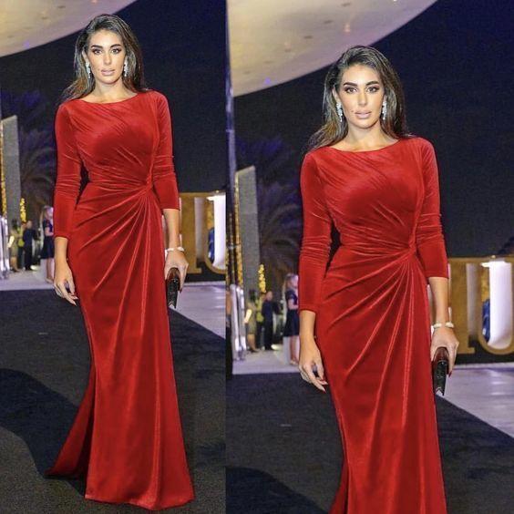 red velvet evening dresses long sleeve mermaid elegant scoop neck modest evening
