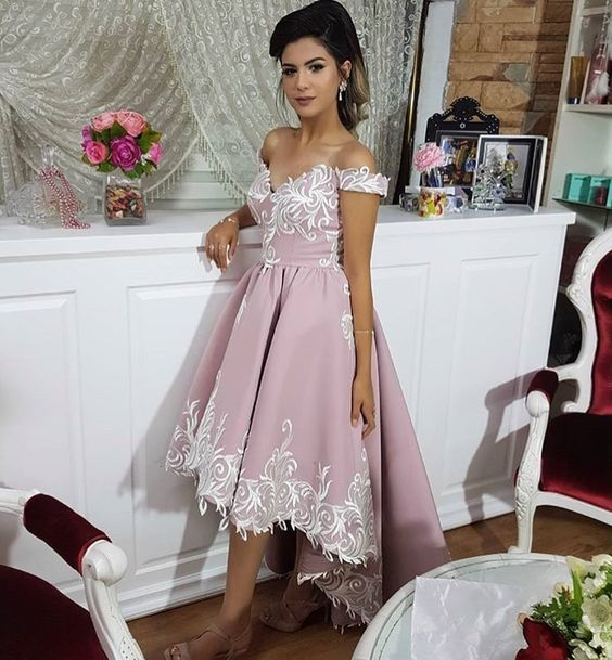 dusty pink prom dresses long high low lace appliqué v neck off the shoulder