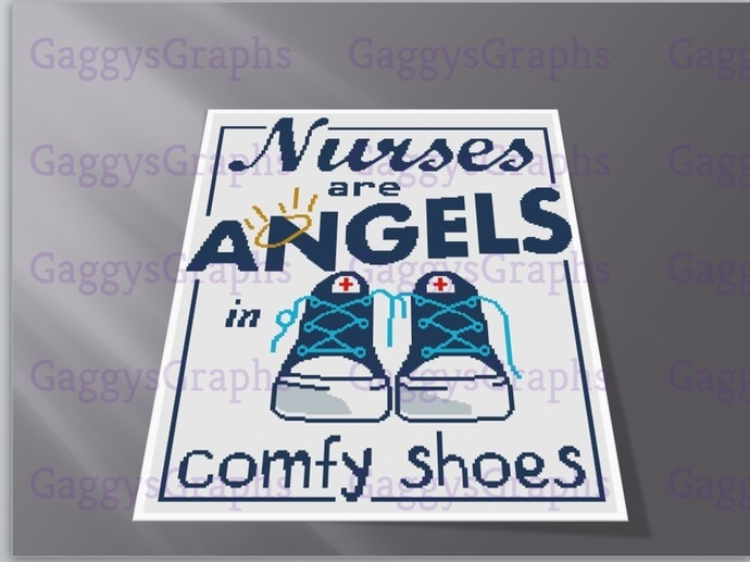 Nurses Are Angels in Comfy Shoes, Throw Size SC 175x240, Graph, Written