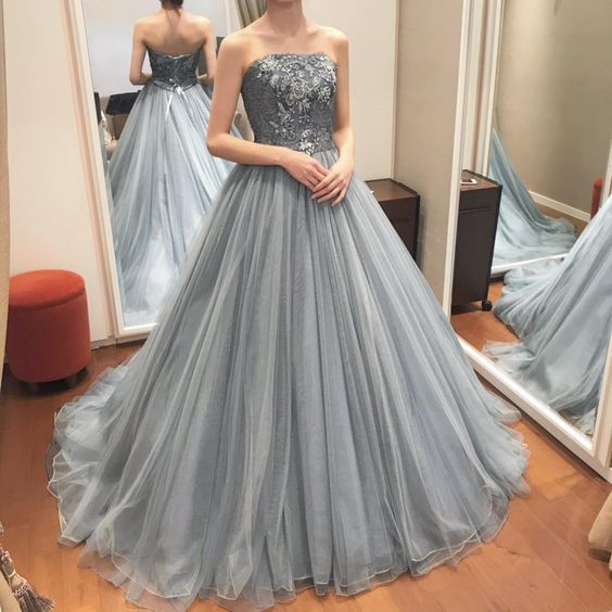 strapless prom dresses long gray lace appliqué puffy elegant tulle vintage ball