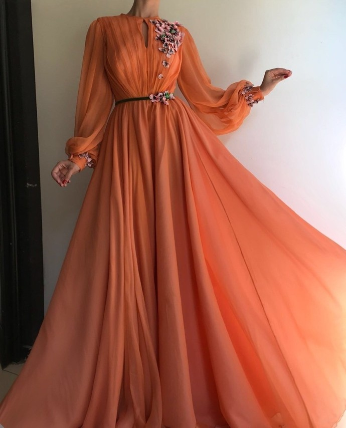floral prom dresses long flare sleeve orange chiffon a line cheap prom gown