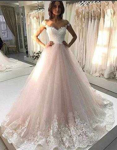 pink wedding dresses for bride lace appliqué elegant beaded off the shoulder