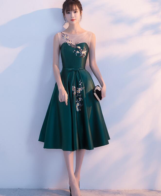 Dark Green Satin Tea Length Wedding Party Dress, Bridesmid Dress