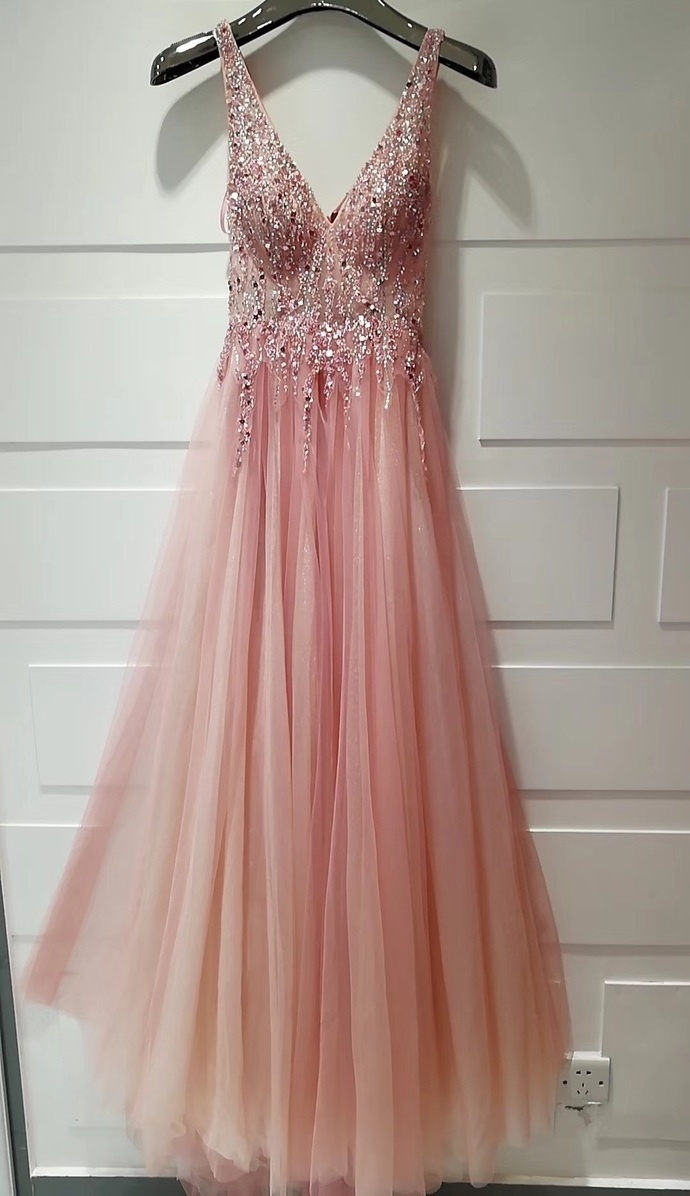 Beautiful V-necklin Pink Sparkle Long Prom Dress, Sequins and Beadings Formal