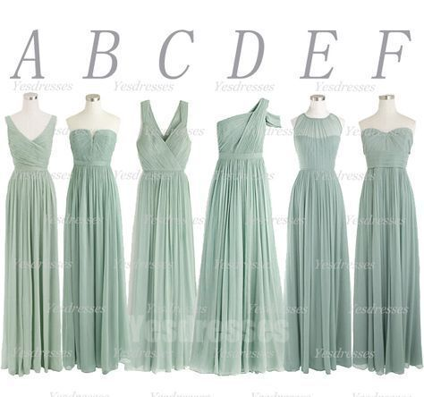 2020 wedding party dresses long chiffon sage green mismatched cheap bridesmaid