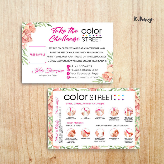Personalized Color Street Twosie Card, Color Street Challenge Card CL36
