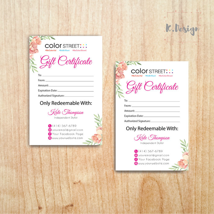 Color Street Gift Certificate, Color Street Gift Card CL36