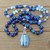 Long Navy Blue Beaded Necklace with Pendant Owyhee Opal hand tied Jewlery gifts