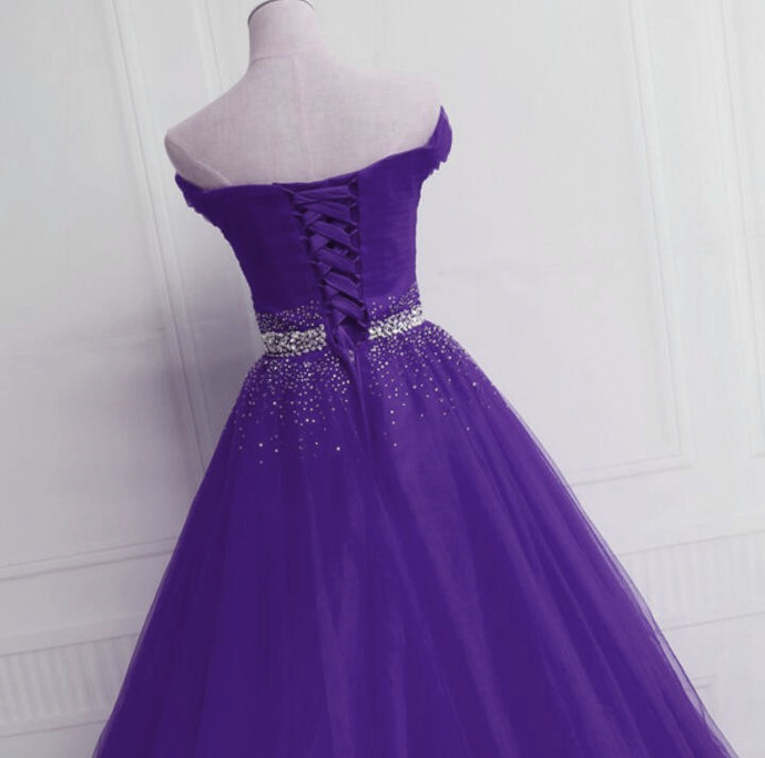 Charming Purple Tulle Evening Gown, Off Shoulder Beaded Prom Dress