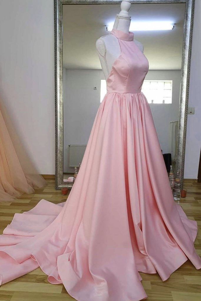 Light Pink Halter Satin Long Party Gown, Satin Formal Dress 2020