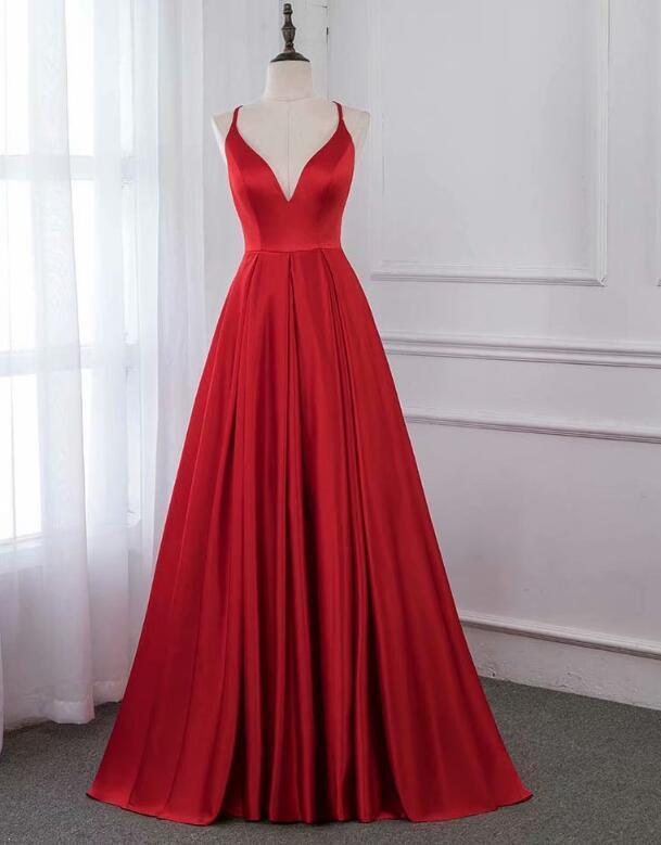 Sexy Red Satin Long Party Dress, Red Prom Dress 2020