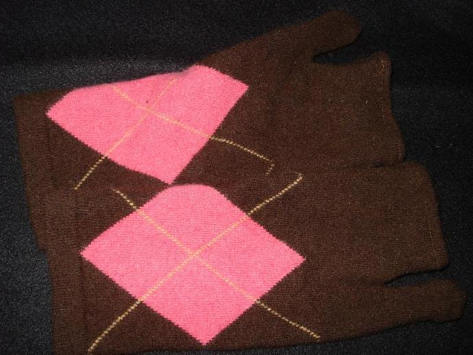 Felted Wool Argyle Fingerless Mittens / Gloves