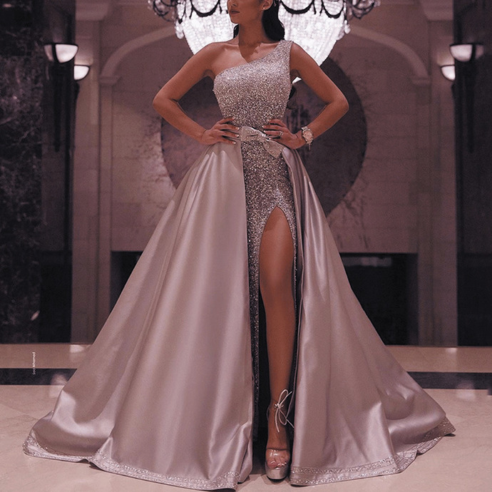 sparkly prom dresses with detachable skirt silver sequin beaded elegant one