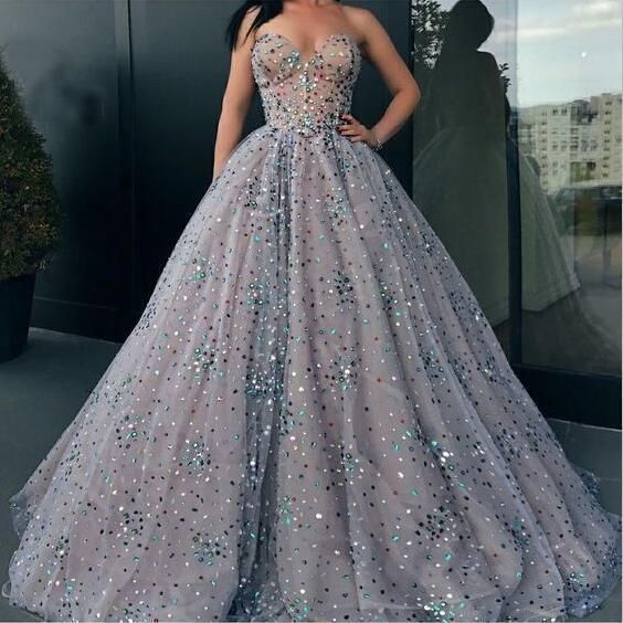 colorful beaded prom dresses ball gown sweetheart neck elegant gray prom gowns