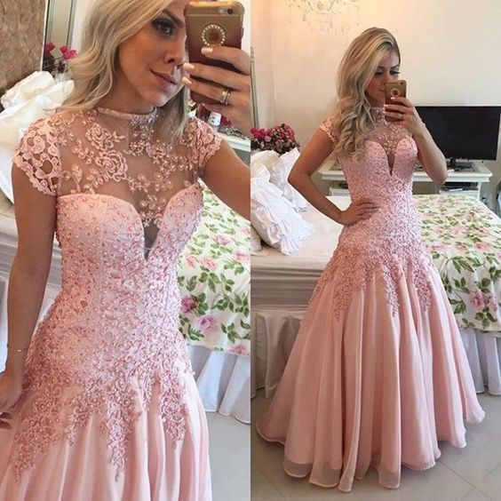 trumpet pink evening dresses short sleeve lace appliqué beaded elegant modest