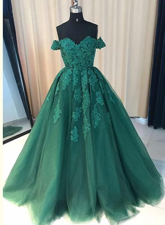 Green Off Shoulder Ball Gown Party Dress, Gorgeous Tulle Evening Formal Dress