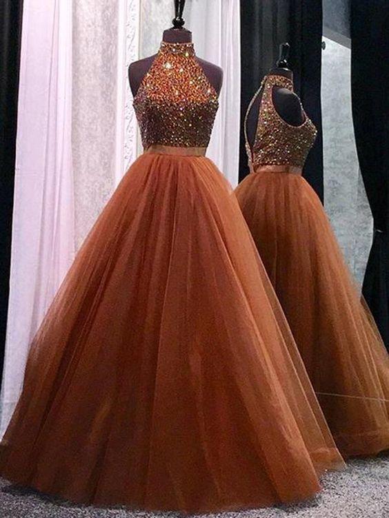 Unique A line Prom Dress Cheap Formal Gowns Long Evening Dress Tulle Graduation