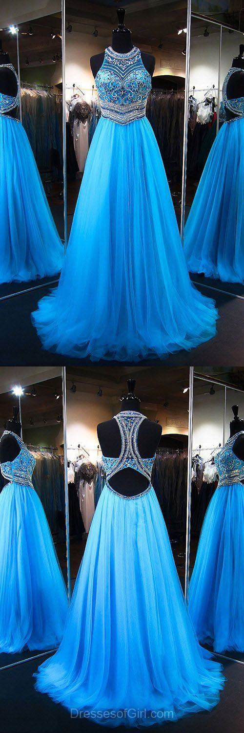 Sparkly Princess Scoop Neck Tulle Sweep Train Crystal Detailing Blue Prom