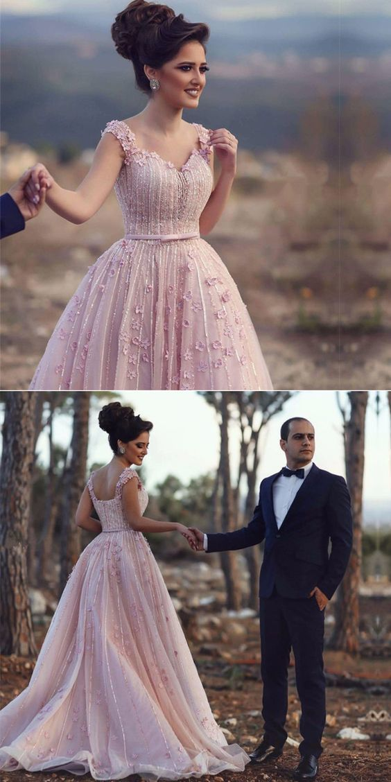blush pink wedding dress,elegant prom gowns,chic prom dress,long evening