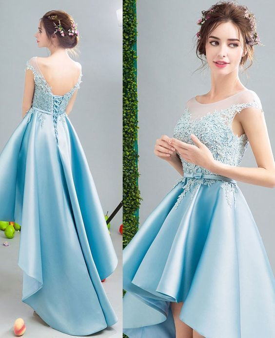 Lovely Custom made high low dresses blue Girls Lace Prom Party Gown