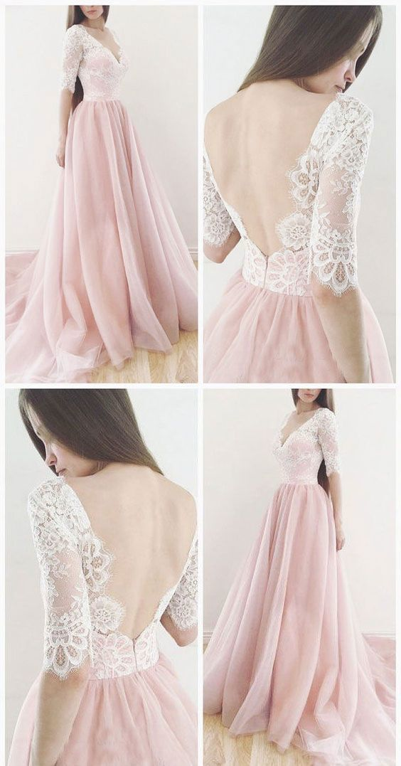 PEAR PINK CHARMING V NECK HALF SLEEVES WEDDING DRESSES WITH APPLIQUES LACE