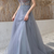 2020 dusty blue long prom dress with spaghetti straps and beaded bodice evening