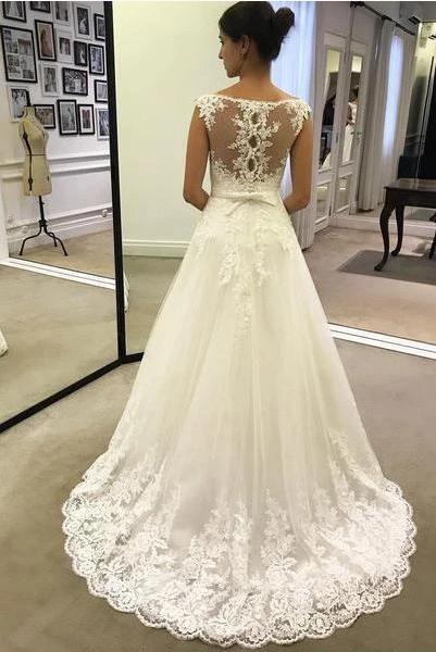 A Line Lace Appliques Tulle Ivory Scoop Long Wedding Dresses Cheap Bridal