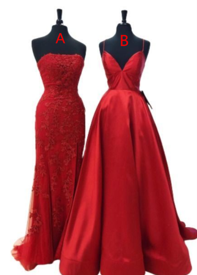 red long prom dress with spaghetti straps evening dress