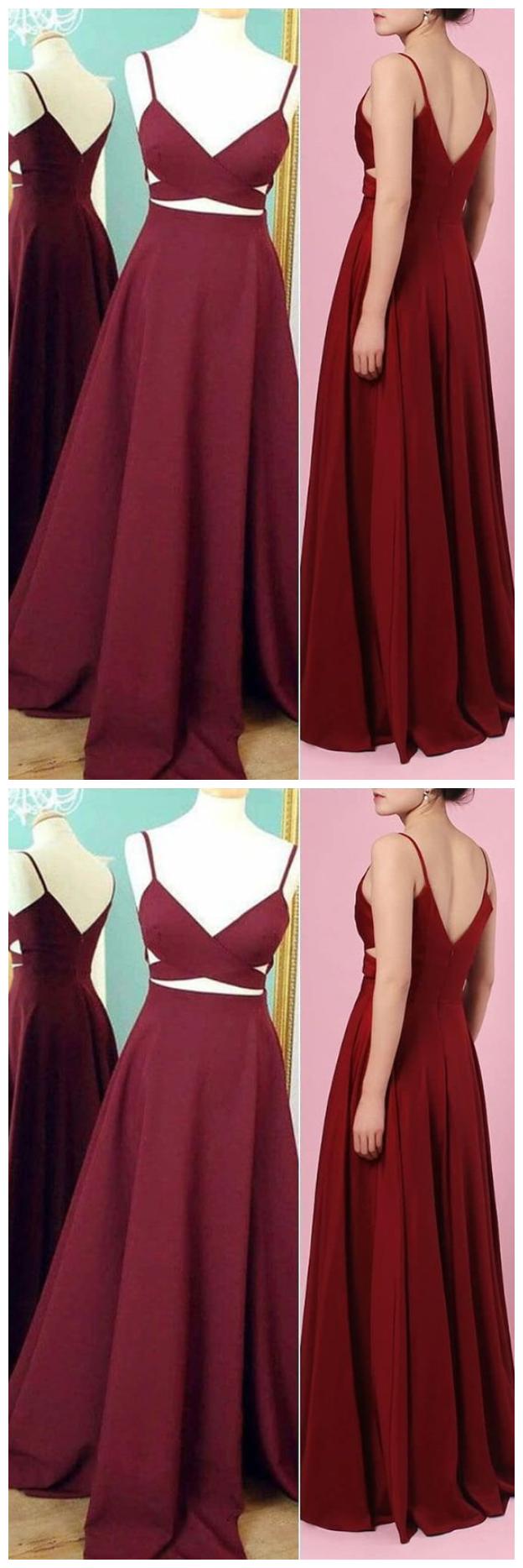 burgundy prom dress, 2020 simple prom dress