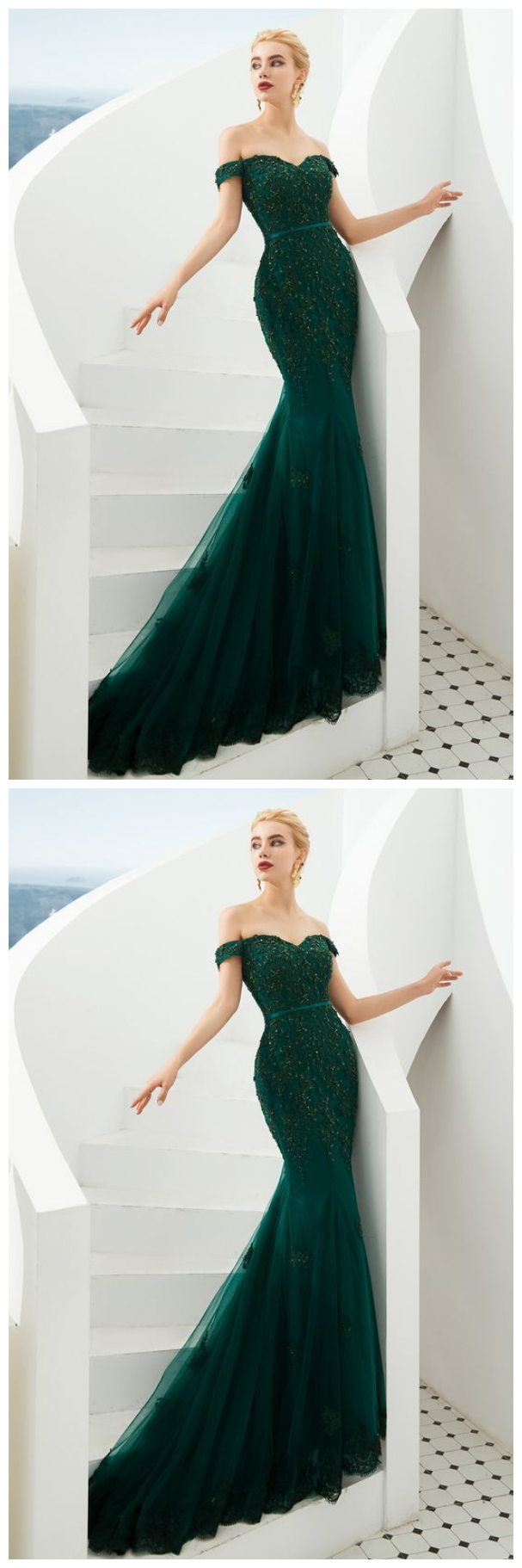 mermaid hunter green evening dress with off the shoulder prom dress