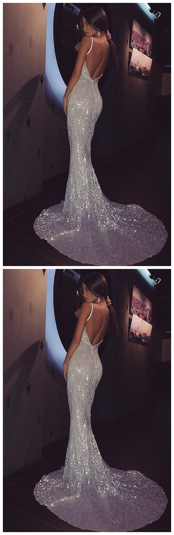 open back mermaid silver sequins formal dress long with train evening dress