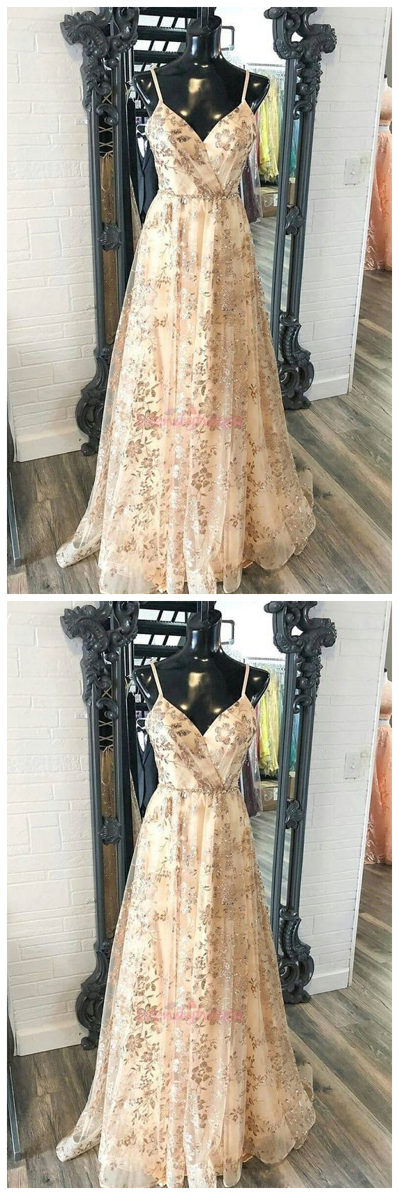 Glitter gold sequins long prom dress with spaghetti straps evening dress