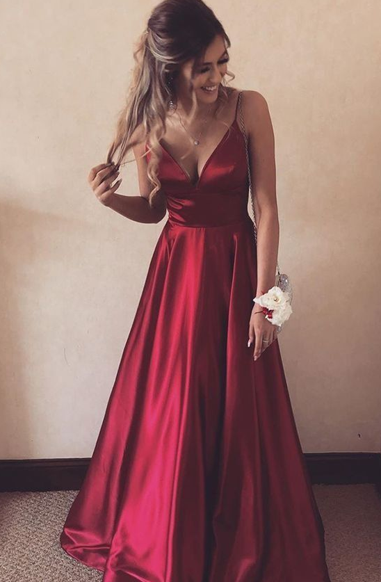 elegant red long prom dress with v neckline prom dresses