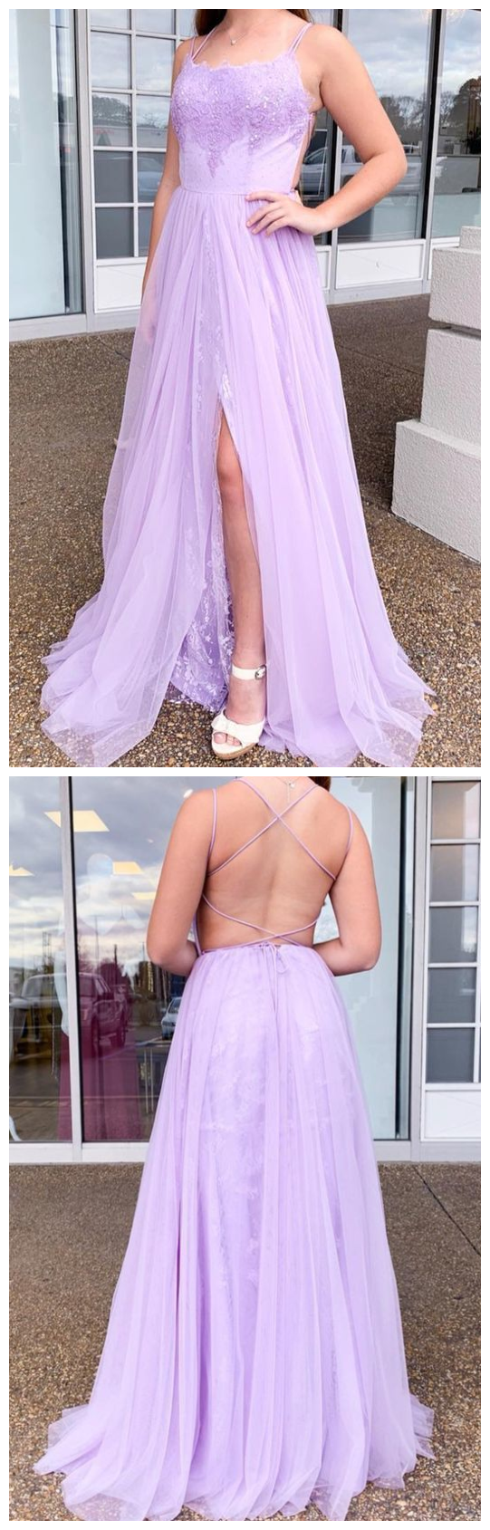 2020 lilac prom dress, A-line long prom dress