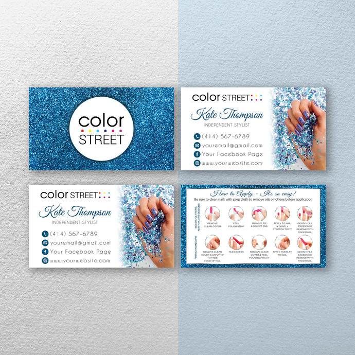 Personalized Color Street Application Cards, Glitter Color Street Business
