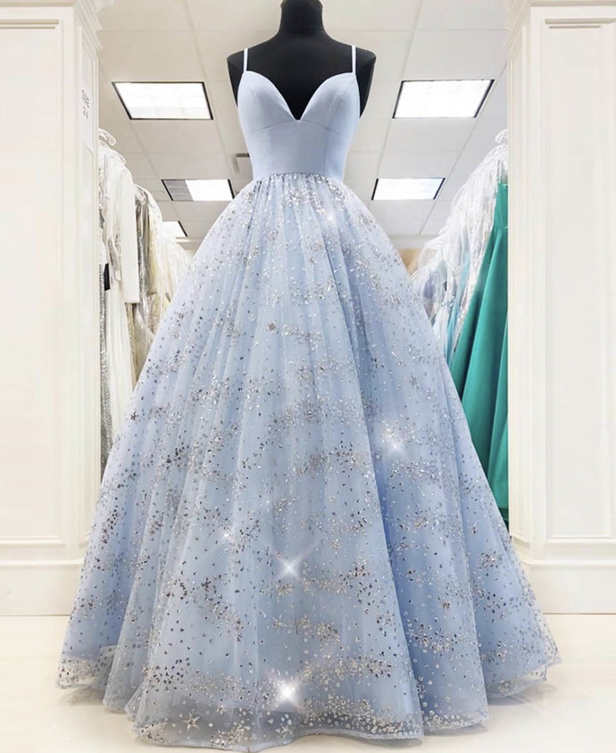 Blue tulle sequins long prom dress