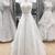 White v neck lace prom dress wedding dress