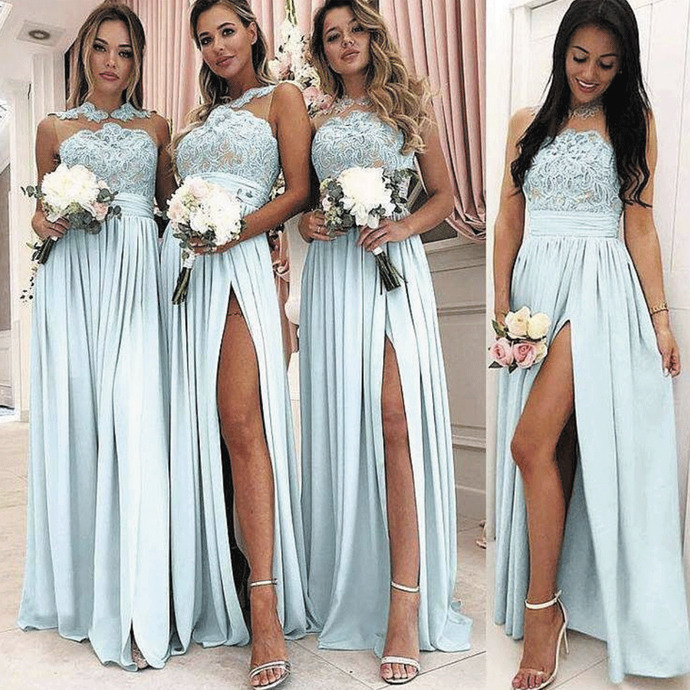 blue bridesmaid dresses long sleeveless lace applique a line cheap wedding guest