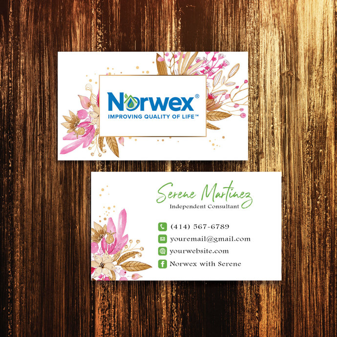 Cinnamon Flower Norwex Business Cards, Personalized Norwex Template NW06