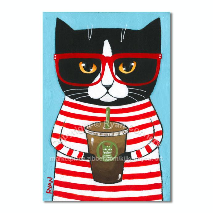Mini Nerdy Coffee Cats Original Tuxedo Cat Folk Art Painting