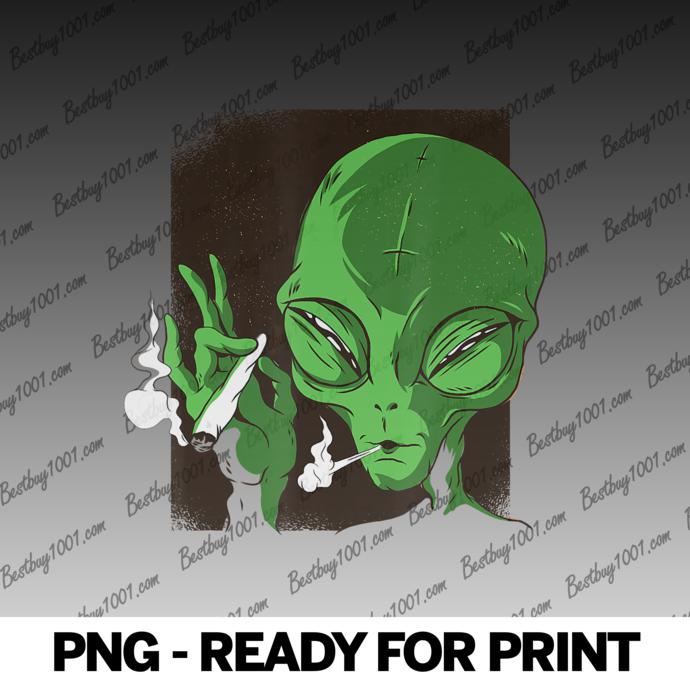 Alien Smoking Weed Marijuana Ganja Png By Amazingsvgshop On Zibbet