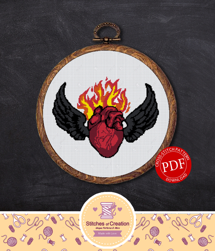 Flaming Heart | Digital Download | Tattoo Cross Stitch Pattern  |