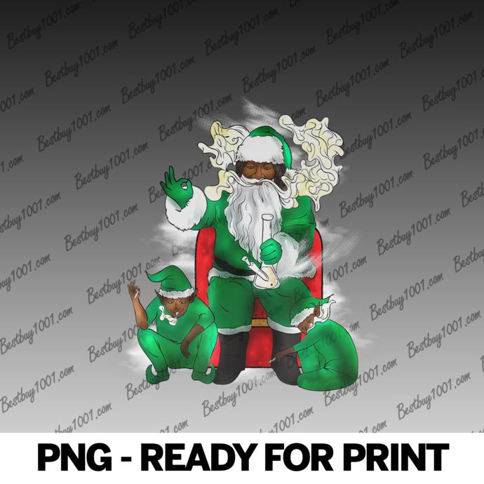 Black Santa Marijuana Christmas Elf Weed Pot High AF png
