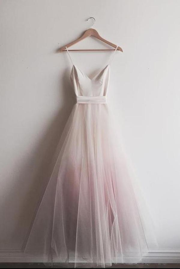 Lovely Light Pink Gradient Straps Tulle Party Dress, Long Prom Dress