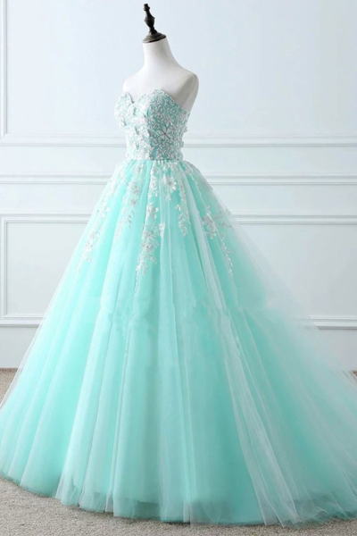 Beautiful Mint Green Tulle Long Party Gown, Ball Gown Sweet 16 Dress