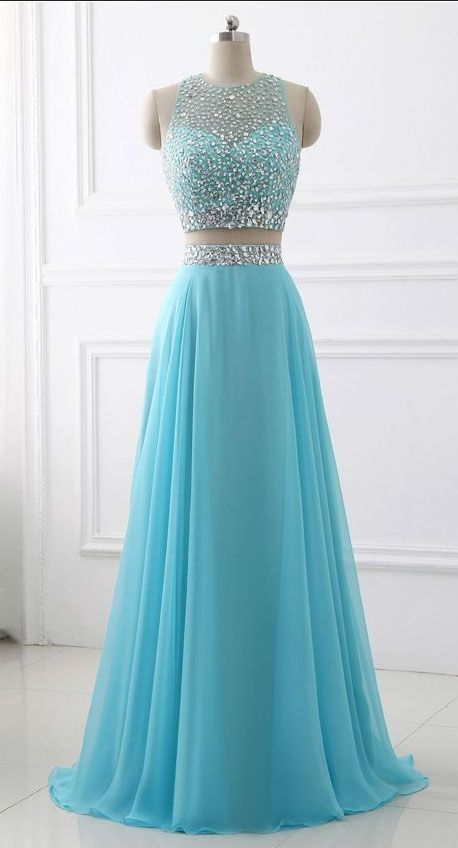 Blue Two Piece Chiffon Beaded Sparkle Long Prom Dress,Two Piece Round Neck