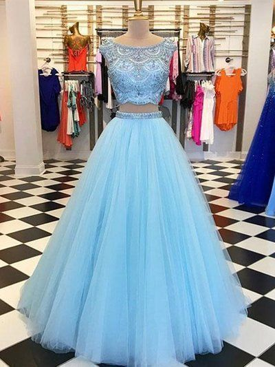two piece blue short sleeves prom dress,beaded jewel tulle evening dress