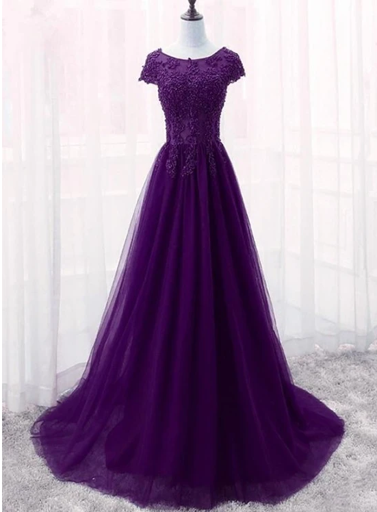 Beautiful Purple Tulle Long Bridesmaid Dress, Charming A-line Formal Dress