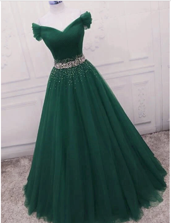 Gorgeous Dark Green Tulle Off Shoulder Long Party Dress, Prom Gown