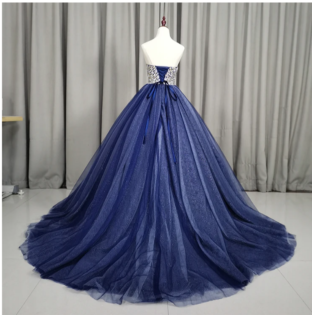 Gorgeous Blue Ball Gown Sweet 16 Party Dress, Blue Handmade Formal Gown
